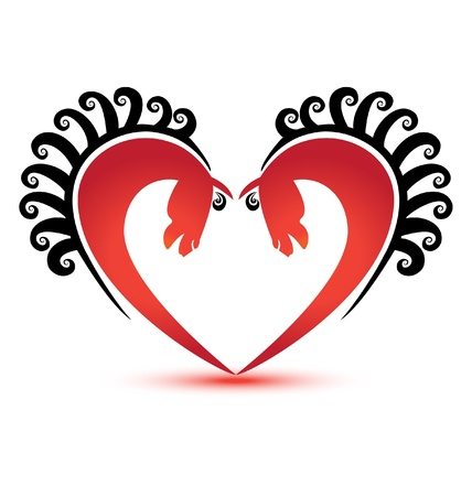 Horses heart shape logo vector Illustration
