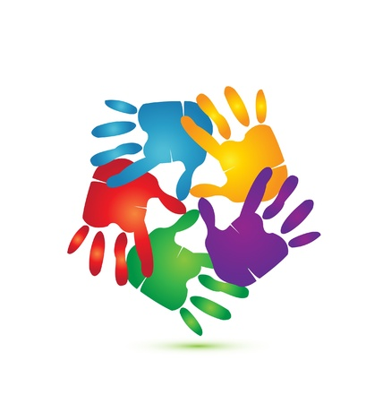 teamwork together: Hands around logo vector