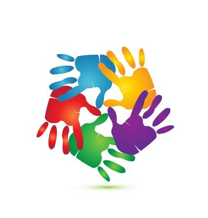 gönüllü: Logo vektör etrafında Eller Çizim