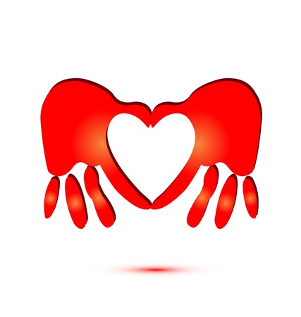 Red hands doing a heart symbol logo vector Vector