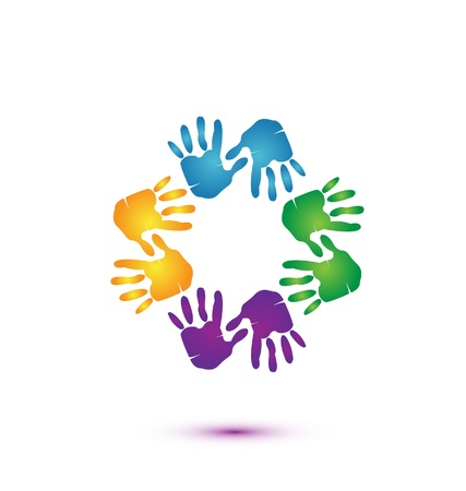 together voluntary: Hands team logo vector
