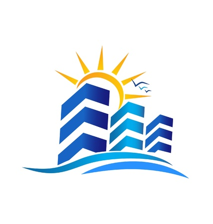 resorts: Apartments with sun real estate logo vector