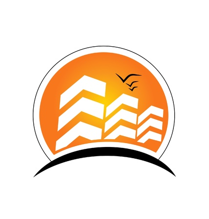 Buildings with sun real estate logo vector Illustration