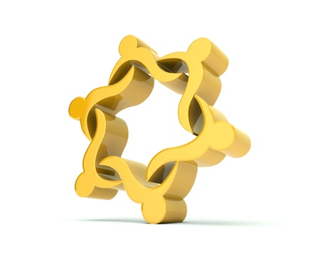 3D teamwork gold color background Stock Photo - 20273036