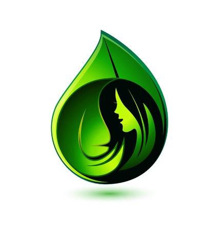 saludable logo: Muchacha de la belleza en el logo sano hojas