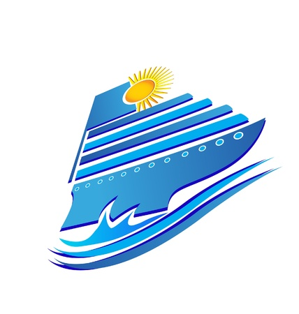 ocean view: Cruise sun and waves logo