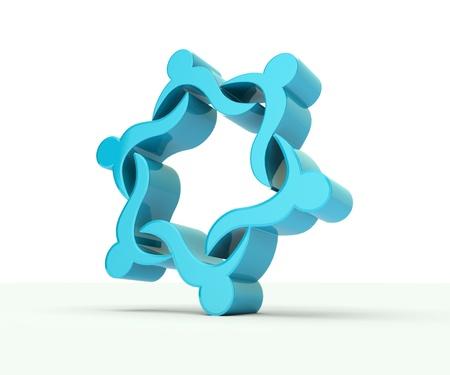 3D teamwork in blue light background