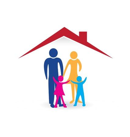homelessness: Famiglia felice con la casa nuova illustrazione
