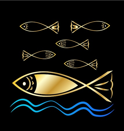 underwater fishes: Fish group and waves background Illustration