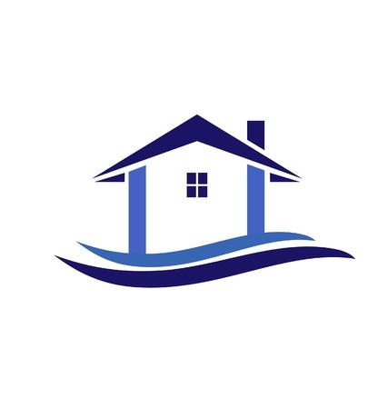 townhouses: Casa y olas en colores azul ic�nico