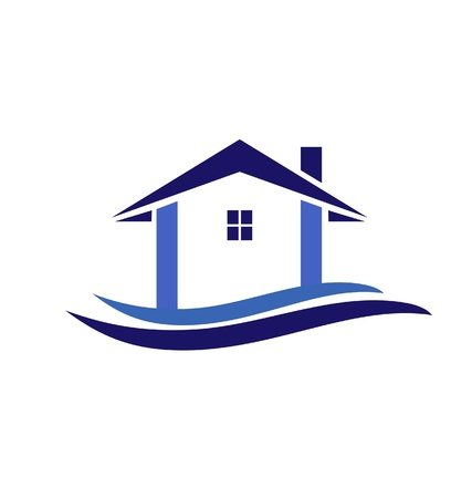 House and waves in blue colors illustration icon