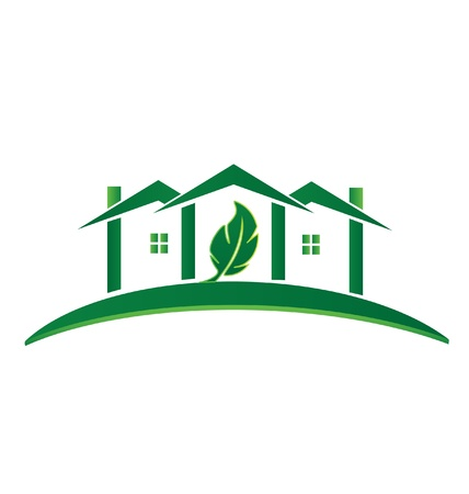 housing styles: Green House ecology concept recycling icon Illustration