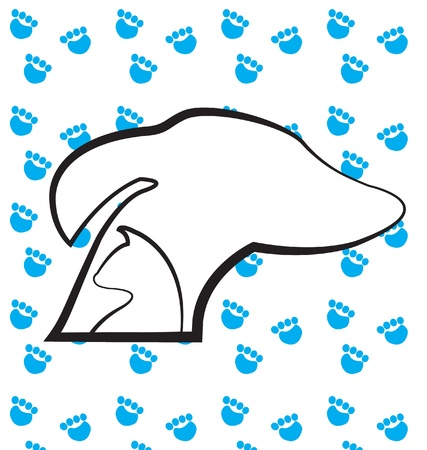 Dog and cat heads silhouettes icon with blue paws prints background  Vector
