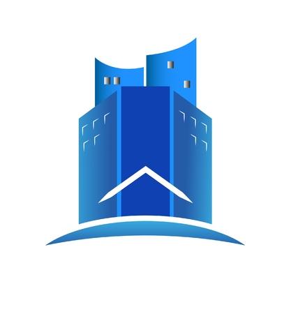 icone immobilier: B�timents bleus modernes de l'ic�ne de l'immobilier