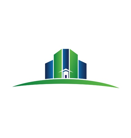 Real estate green and blue buildings Stock Vector - 20773548