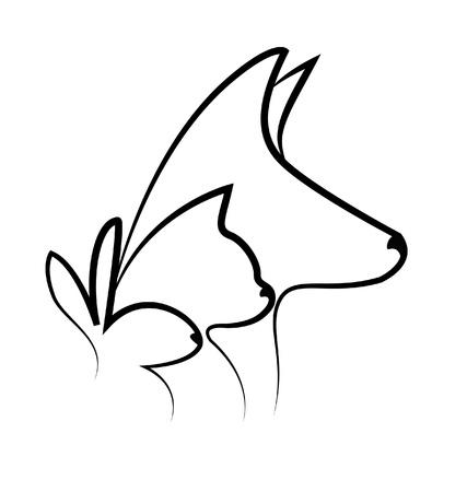chien chat et têtes de lapin silhouettes