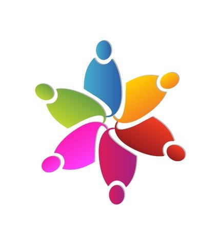 팀웍 화려한 꽃 모양 디자인 일러스트