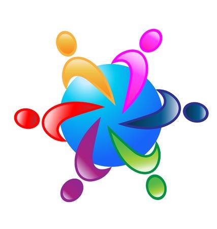 Teamwork colorful around world design Stock Vector - 20773770