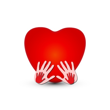 Hands together with a heart icon  Vector