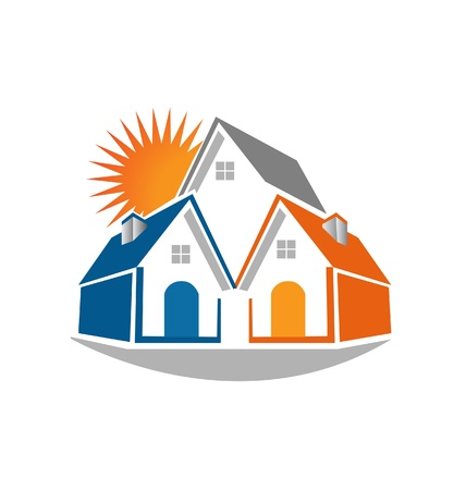 Real estate houses and sun icon illustration