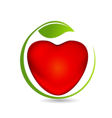 Heart and leaf icon illustration  Vector