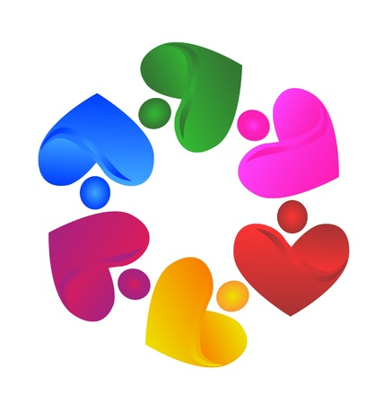 Teamwork hearts humanity icon illustration