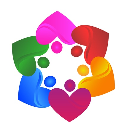 Teamwork hearts charitable icon Vector