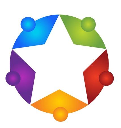 Teamwork around star illustration