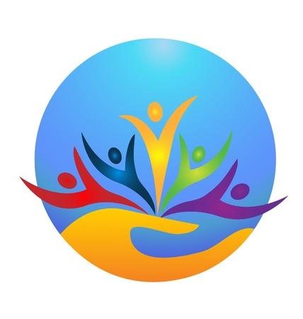 manos juntas: La gente feliz que protegen el icono del mundo