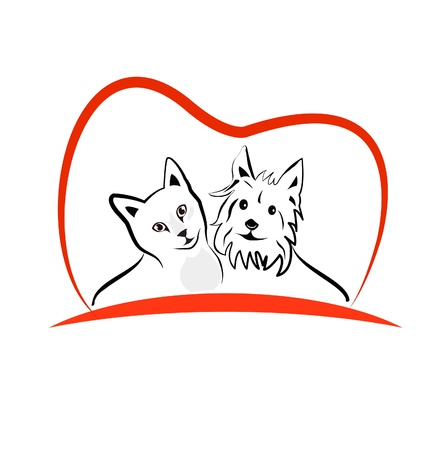 Cat and dog love heart illustration