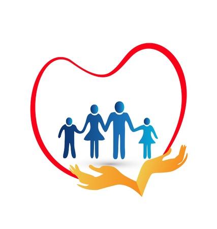 손 그림에 의해 보호 가족 사랑