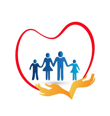 Family love protected by hands illustration Stock Vector - 21454369