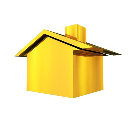Gold house 3d illustration background
