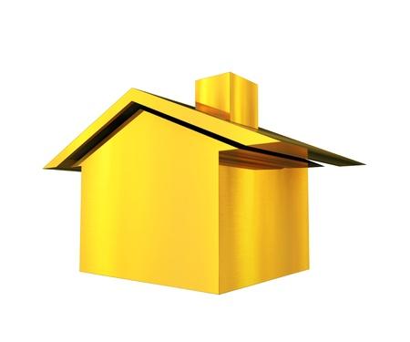 Gold house 3d illustration background