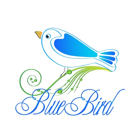 Blue bird icon illustration Vector