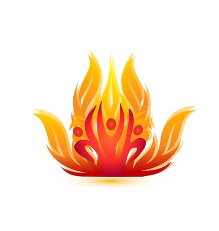 resplandor: La gente en el fuego en iconos del equipo de rescate s�mbolo de bomberos Vectores
