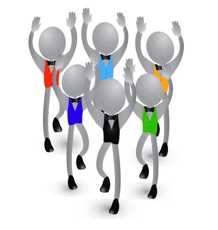 Gente éxito en los negocios y la felicidad Ilustración de vector