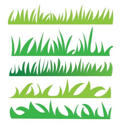 녹색 잔디 그림 벡터의 집합