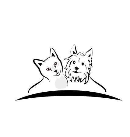 Cat and dog silhouettes icon  Vector