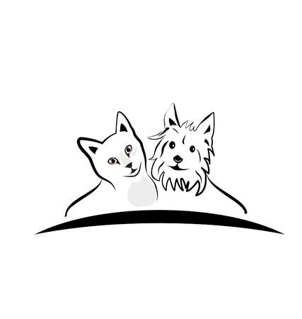 Katze und Hund Silhouetten icon Standard-Bild - 21769985
