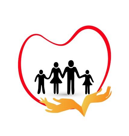 family clipart: Protezione della famiglia con l'amore