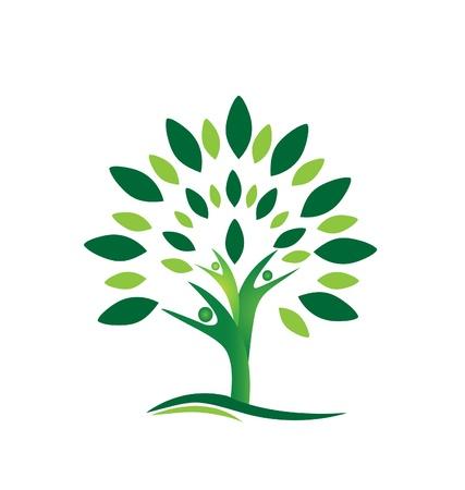 arbol de la vida: Personas Trabajo en equipo árbol icono de fondo abstracto Vectores