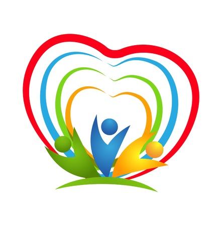 Mensen hart verbindingen pictogram vector Stock Illustratie