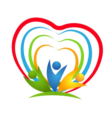 solidarity: People heart connections icon vector