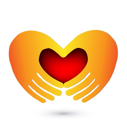 together voluntary: Hands with a red heart icon illustration vector Illustration