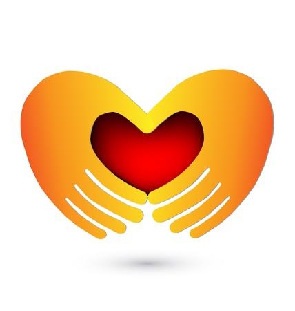 gönüllü: Kırmızı bir kalp illüstrasyon vektörle Eller