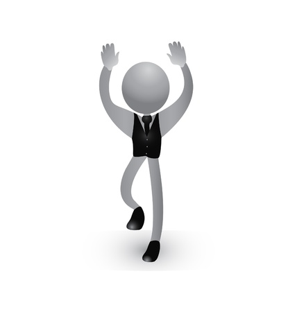 Positive and successful pose of happy business man icon vector Stock Vector - 21989859