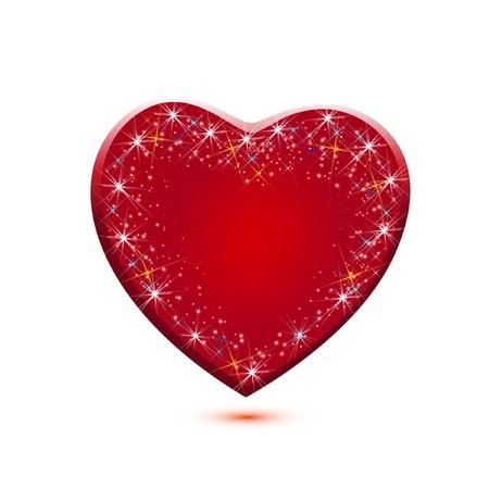 kalp: Kırmızı ışıltı kalp simgesi uygulama vektör