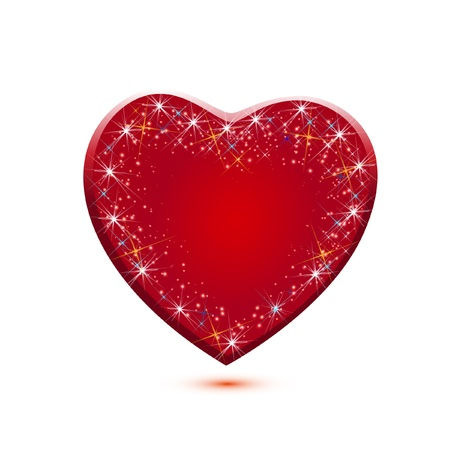 Red sparkle heart icon application vector Vector