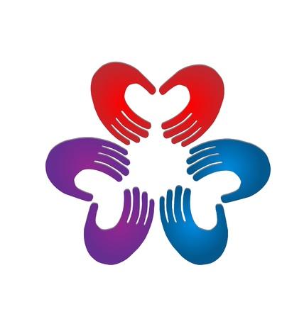 manos: Manos en equipo colores ilustraci�n vectorial Vectores